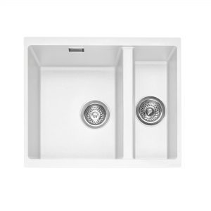 Leesti 150U Undermounted Geotech Granite Sink – Chalk White