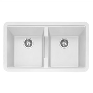 Leesti 200 Undermounted Double Bowl Geotech Granite Sink – Chalk White