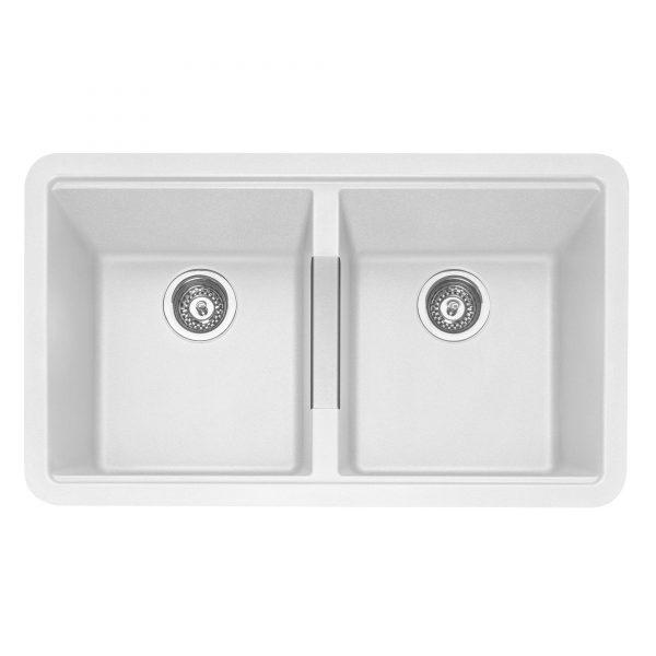 Leesti 200 Undermounted Double Bowl Geotech Granite Sink – Chalk White