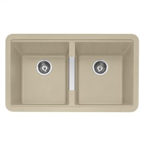 Leesti 200 Double Bowl Geotech Granite Sink – Desert Sand