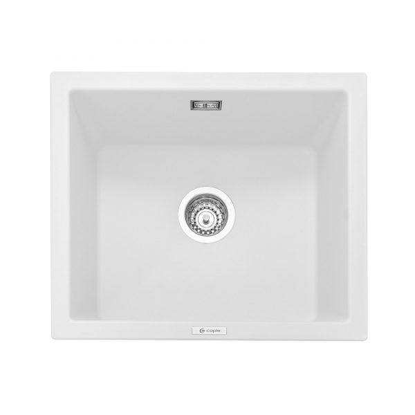 Leesti 600 Inset or Undermounted Geotech Granite Sink – Chalk White