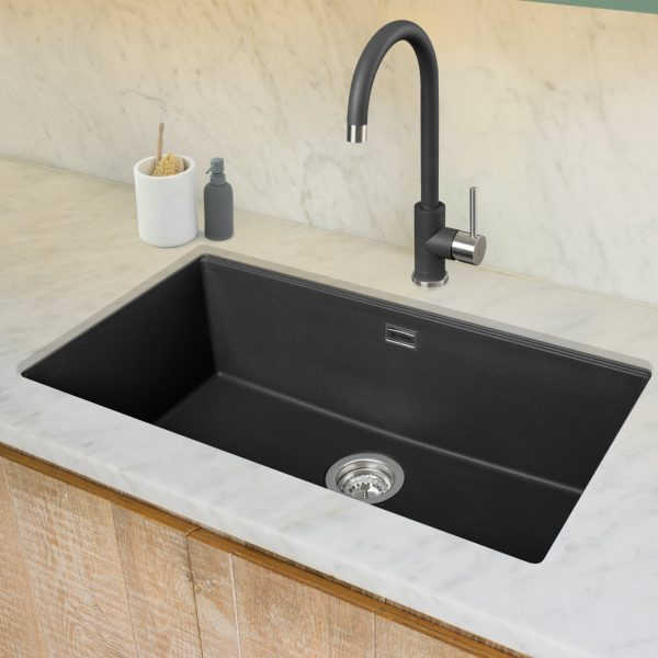 Leesti 760 Undermounted Single Bowl Geotech Granite Sink – Anthracite
