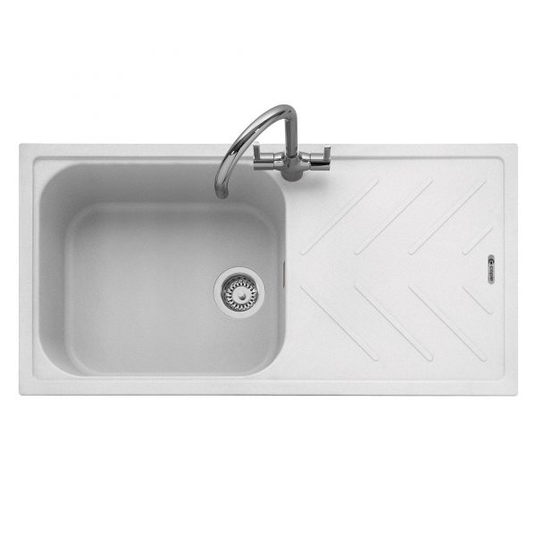 Veis 100 Inset Geotech Granite Sink with Drainer – Chalk White