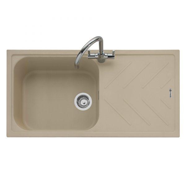 Veis 100 Inset Geotech Granite Sink with Drainer – Desert Sand