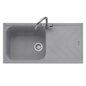 Veis 100 Inset Geotech Granite Sink with Drainer – Pebble Grey