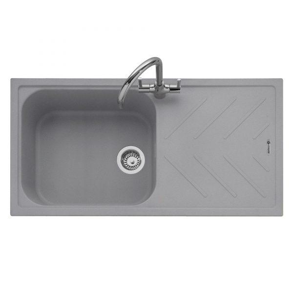 Veis 100 Inset Geotech Granite Sink with Drainer – Pebble Grey