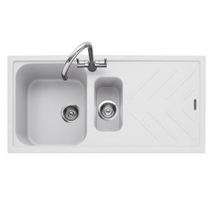 Veis 150 Inset Geotech Granite Sink with Drainer – Chalk White