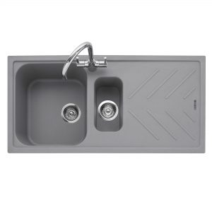 Veis 150 Inset Geotech Granite Sink with Drainer – Pebble Grey